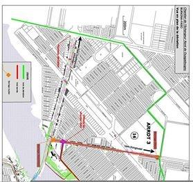 construction de l'Echangeur du Nord: le plan de circulation avec les déviations